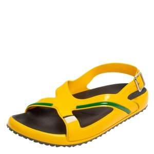 Prada Yellow Rubber Slingback Sandals Size 43