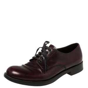 Prada Burgundy Leather Lace Up Oxfords Size 42