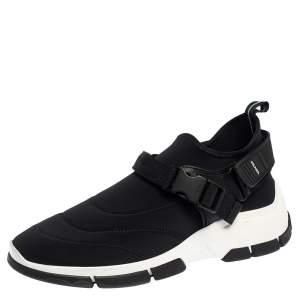 Prada Black Neoprene Buckle Detail Sneakers Size 40