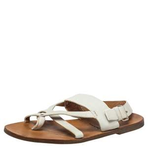 Prada White Leather Thong Sandals Size 42