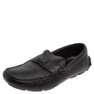 حذاء لوفرز برادا سليب أون جلد أسود مقاس 42