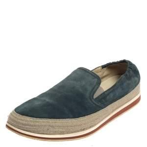 Prada Blue Suede Slip On Espadrille Sneakers Size 44