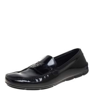 Prada Black Leather Slip On Loafers Size 40.5