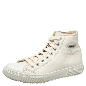 حذاء رياضي برادا جلد أبيض عنق مرتفع بشعار الماركة مقاس 44.5