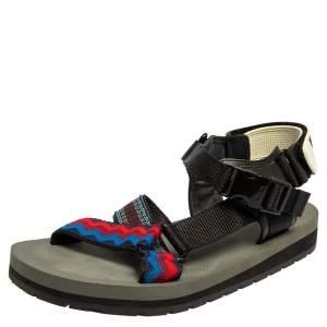 Prada Multicolour Fabric Teva Ankle Strap Flat Sandals Size 41