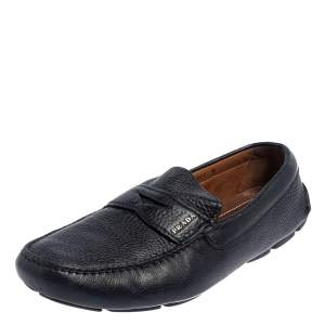 Prada Blue Leather Penny Slip On Loafers Size 43