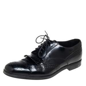 Prada Black Leather Fringe Detail Lace Up Derby Size 42