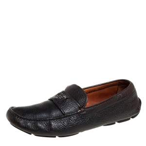 Prada Brown Leather Slip On Loafers Size 41