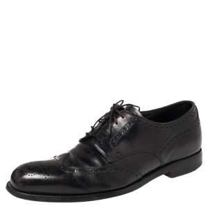 Prada Black Leather Brogue Derby Size 41