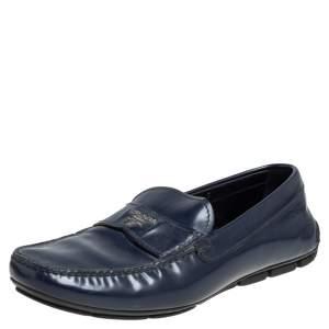 Prada Blue Leather Slip On Loafers Size 41