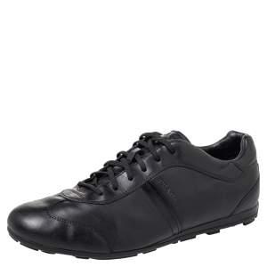 Prada Black Leather Low Top Sneakers Size 45