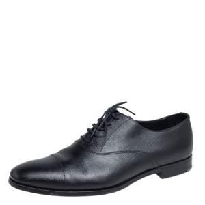 Prada Black Saffiano Leather Lace Up Oxfords Size 43.5