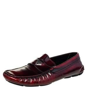 Prada Burgundy Leather Slip on Loafers Size 44.5