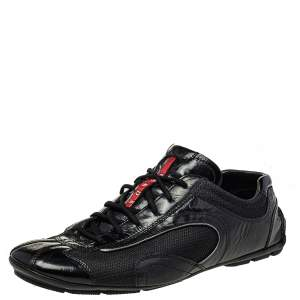 Prada Black Mesh And Patent Leather Low Top Sneakers Size 44