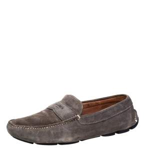 Prada Grey Suede Slip on Loafers Size 41.5