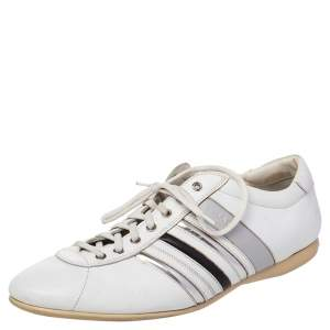 Prada White Leather Low Top Sneakers Size 44