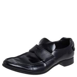 Prada Black Patent Leather Penny Loafers Size 40.5