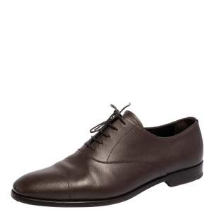 Prada Brown Leather Lace Up Oxford Size 43
