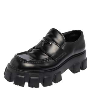 Prada Black Patent Leather Monolith Chunky Loafers Size 42.5