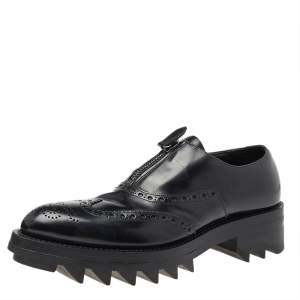 Prada Black Leather Brogue Zipper Platform Oxfords Size 41