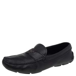 Prada Black Leather Slip On Loafers Size 41