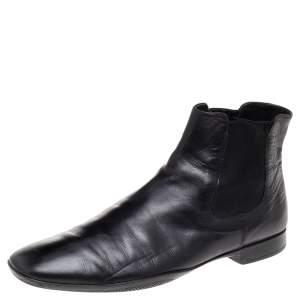 Prada Black Leather Chelsea Boots Size 41.5