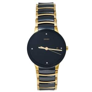 Rado Black Gold PVD Stainless Steel Ceramic Centrix Jubile 115.0929.3 Men's Wristwatch 38 mm