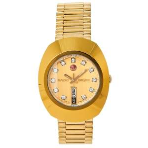 Rado Gold PVD Coated Stainless Steel DiaStar R12413493 Automatic Men's Wristwatch 35 mm