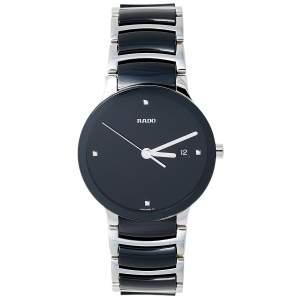 Rado Black Stainless Steel Ceramic Centrix Diamonds R30934712 Unisex Wristwatch 38 mm
