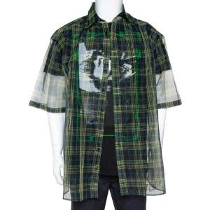 Raf Simons Black Plaid Check Sheer Oversized Layered Shirt S