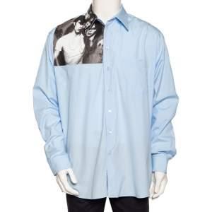 Raf Simons Blue Photo Printed Cotton Button Front Oversized Shirt L