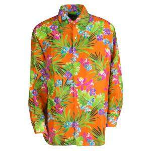 Ralph Lauren Orange Tropical Floral Print Button Front Silk Shirt XXL