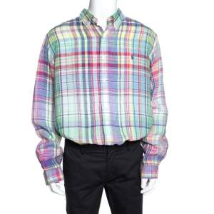 Ralph Lauren Multicolor Checked Ocean Wash Linen Slim Fit Shirt XXL