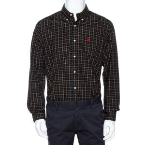 Ralph Lauren Black Plaid Check Cotton Custom Fit Shirt XL