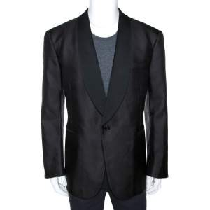 Ralph Lauren Black Jacquard Silk Shawl Lapel Tuxedo Jacket 4XL