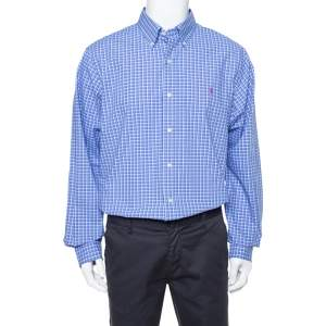 Ralph Lauren Blue Checked Cotton Classic Fit Shirt XL