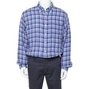 Ralph Lauren Pigment Blue Sea Soft Linen Plaid Shirt XL