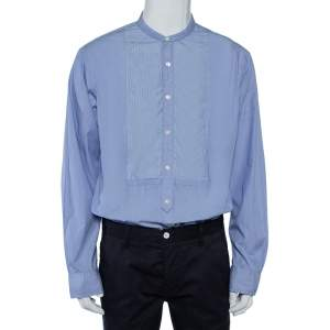 قميص رالف لورين قطن أزرق مخطط رقع مزينة أزرار أمامية مقاس كبير جدًا - إكس لارج