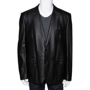 Ralph Lauren Black Leather Button Front Blazer XXL