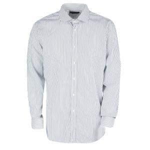 Ralph Lauren Monochrome Striped Cotton Button Front Tailored Fit Shirt XXL