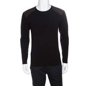 Ralph Lauren Charcoal Grey Merino Wool Leather Panel Detail Sweater M