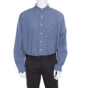 Ralph Lauren Blue Gingham Checked Cotton Logo Embroidered Long Sleeve Shirt XXL