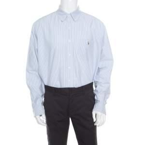 Ralph Lauren Sky Blue Striped Cotton Classic Fit Oxford Shirt XL