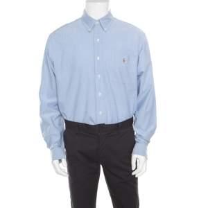 Ralph Lauren Light Blue Cotton Logo Embroidered Classic Fit Oxford Shirt XL