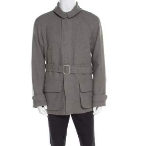 Ralph Lauren Melange Grey Wool And Silk Blend Belted Jacket M