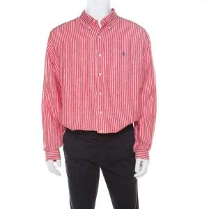 Ralph Lauren Red and White Striped Linen Button Down Custom Fit Shirt XXL