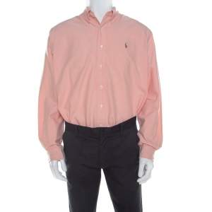Ralph Lauren Peach Pink Cotton Logo Embroidered Classic Fit Shirt XL