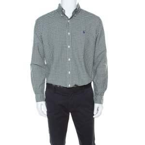 Ralph Lauren Green & White Checkered Cotton Classic Fit Shirt M