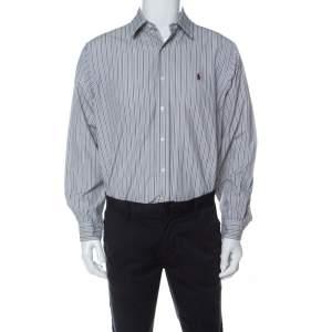 Ralph Lauren Grey Striped Cotton Classic Fit Button Down Shirt L