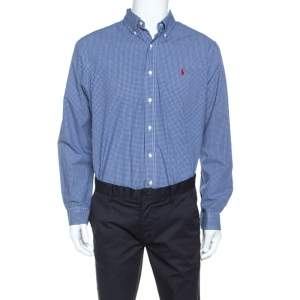 Ralph Lauren Blue Checked Cotton Button Down Collar Shirt L
